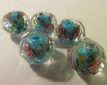 Multi-Faceted Turquoise Blue Lampwork Beads with Pink Roses, 12mm, Set of 5