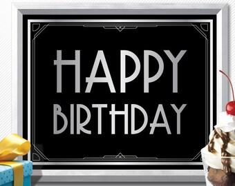 HAPPY BIRTHDAY sign, printable happy birthday sign, art deco happy birthday, gatsby happy birthday, roaring 20s happy birthday, birthday