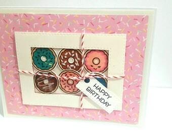 Birthday Donut Box Card, Handmade Birthday Card, Donut Card, Handmade Greeting Card