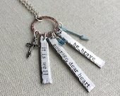 it is well - Create Your Own Charm Necklace | it is well - hand stamped pewter or copper necklace | it is well - word bar necklace |