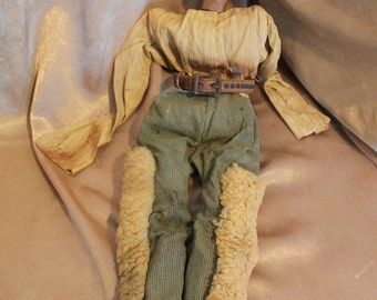 1800's Rare Hand Carved Wood Cowboy Marionette