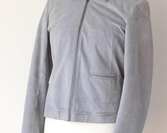 Light Blue Cropped Suede Leather Ladies Jacket - UK size 14