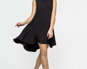 Black Dropped Hem Sleeveless Mini Smock Dress Loose Fit Summer Sundress