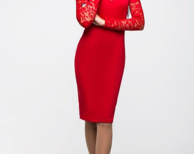 Little Black Lace Dress, Red Pencil Dress, Midi Dress, Lace Sleeve Dress, Sexy Dress