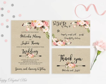 Rustic Wedding Invitation Printable Wedding Invitations Floral Suite Blush Pink Wedding Invite Boho Wedding Peonies Bohemian Wedding Set