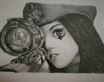 Custom hand drawn portrait - pencil drawing