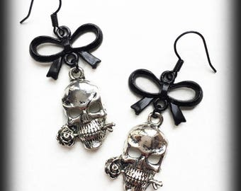 Gothic Skull Earrings, Gothic Jewelry, Black Bow Earrings, Alternative Jewelry, Silver Skulls, Handmade Jewellery, Gothic Gift For Her