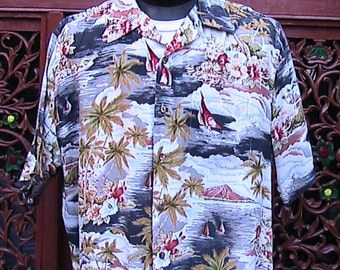 mXL VINTAGE 17-17 1/2 Hawaiian Shirt