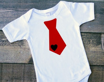Boy heart tie Valentine's bodysuit toddler tshirt