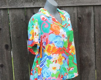 Vintage Button Up Blouse, Jams World, Hawaiian Print, Green, Orange, Floral, 90's, Button Down Shirt, Made in the USA, Plus Size, Size XL