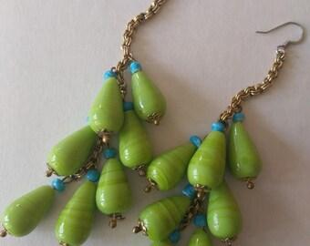 teardrop glass bead drop earrings