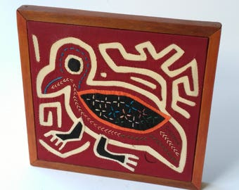 Vintage Framed Mola Art Bird Hand Stitched Reverse Applique Embroidered Panamanian Columbian