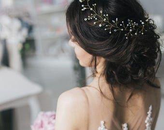 Gold wedding hair vine Gold wedding hair accessories Bridal pearl crystal hair vine Wedding hair piece Wedding hair vine