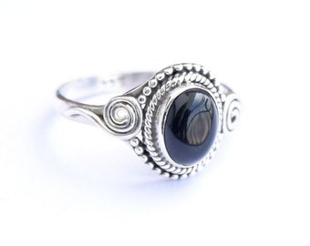 Black onyx Ring, Black Stone Ring, Black  Ring, Sterling Silver Ring, Minimalist Ring,Size =  3 4 5 6 7 8 9 10 11 12 13