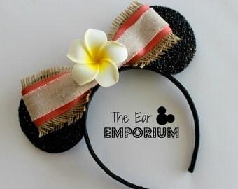 Moana Inspired Hawaiian Mouse Ears Headband ~ Plumeria Center