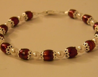 Pearl Jewelry - Red - Necklace, Bracelet, Earrings