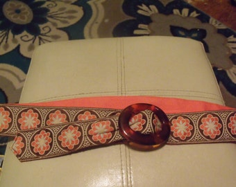 1980's Brown and Coral Floral Cloth Belt w/ Tortoise Shell Buckle