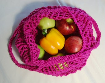 Market Bag, Reusable Bag, Knit Market Bag, Bag, Knit Bag, Grocery Bag, Tote, Tote Bag, Mesh Bag,