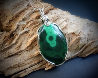 Sterling Silver Malachite Necklace - Malachite Pendant - Malachite Jewelry - Green Stone - Green Pendant - Wire Wrapped Jewelry