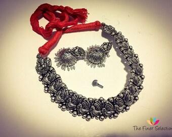 German Silver Choker Necklace Set