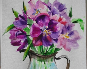 Original watercolor painting Purple tulips, spring flowers, colorful spring flowers, vase with tulips,