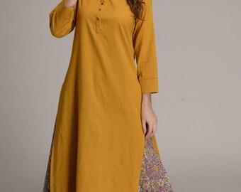 Hand block printed skirt with long plain cotton kurta