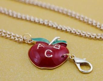 Apple for the Teacher Interchangeable Lanyard Badge Holder Necklace