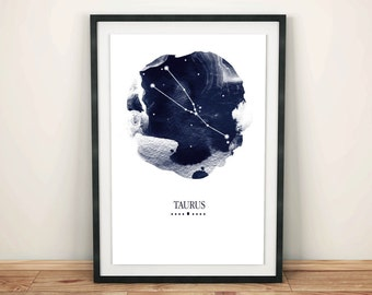 Taurus Zodiac Constellation, Taurus Stain, Universe Printables, Art and Collectibles, Digital Prints, Instant Download, Abstract Minimal