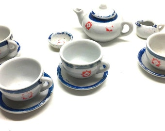 Vintage 12 Pcs Toy Tea Set, Hand Painted Set, Miniature Teapot And cups Set.