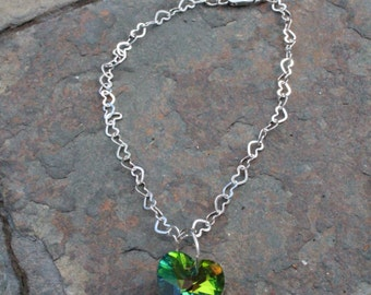 Handmade Adjustable Crystal Heart Necklace for American Girl or other 18 Inch Dolls, Doll Accessories, Silver Tone