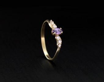 Tiny amethyst ring, Amethyst engagement ring, 14 k solid gold amethyst ring, Dainty ring, Women gold ring, Gemstone ring, Feminine ring