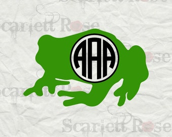 Monogram Frog SVG cutting file clipart in svg, jpeg, eps and dxf format for Cricut & Silhouette - Instant Download
