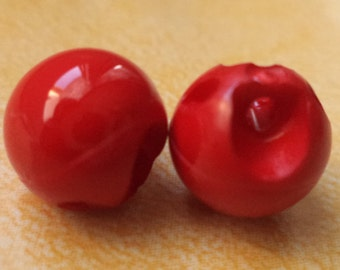 9 small buttons 10mm red (6081) bead ball blouse buttons