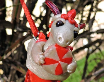 OOAK Polymer Clay Peppermint Baby Dragon Christmas Ornament