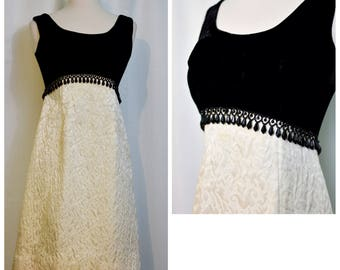 Black Velvet and Cream Quilted 60s Dress with Beaded Waistband