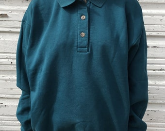 Vintage 90s Lands End Collared Pullover Basic Plain Teal Blue Polo Button Sweatshirt - Large / XL