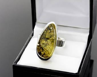 Amber Ring, Green Amber Ring, Statement Ring, Green Amber Statement Silver Ring, Silver Ring With Stone, Green Stone Ring, Stone Ring, Jewel