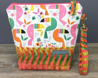 Toucan Party - Medium Size Sock Knitting Project Bag by WIPyarns, Zippered Bag With Detachable Wrist Strap, Tropical Toucan Print, Batik