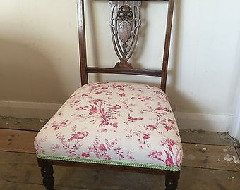 Antique Edwardian Childs Chair - Mahogany & Newly Re-Upholstered Seat