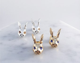 Bunny with dazzling eyes earrings; rabbit earrings; bunny head pierce; Alice in Wonderland