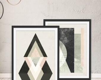 Abstract Framed Art Prints - Set of 2 - Green Lili. Digital Art. Wall Art. Gift. Interiors.