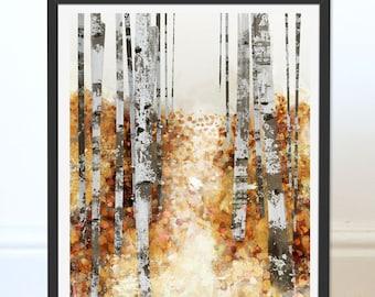 Autumn Print. Leaf Print. Autumn Trees. Autumn Leaves. Wall Decor