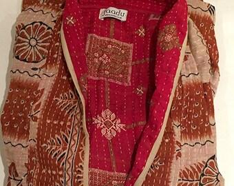 Vintage cotton | BURNT ORANGE/red | Kantha stitch dressing gown made from vintage saris | Vintage cotton dressing gown | Kantha stitch robe
