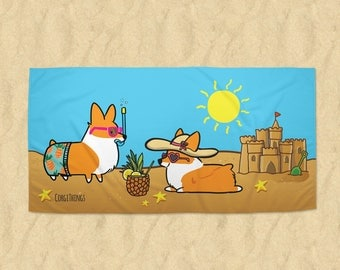 Corgi Beach Party Beach Towel | 30x60 or 35x60 in Premium Printed Microfiber Terrycloth | Welsh Corgi Summertime Fun | MADE TO ORDER