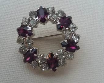 Vintage Round Garland Paste Brooch Glass Faux Amethyst and Diamante 1980's