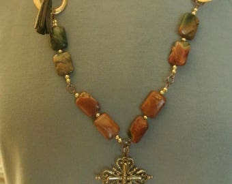 A Boho Necklace with Leather, Cross and Jasper Stones