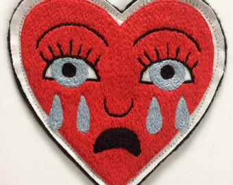 Hand Embroidered Crying Heart Patch