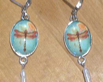 Blue Dragonfly Earrings Silver Dragonfly Earrings Freshwater Pearl Earrings Dragonfly Jewelry Dragon Fly Jewelry Dragonfly Gift