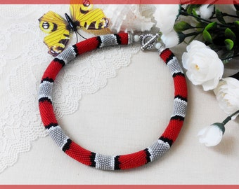Woman gift for mother Red beaded necklace Crochet Bib snake necklace Red and Grey crochet Red Snake jewelry Women day
