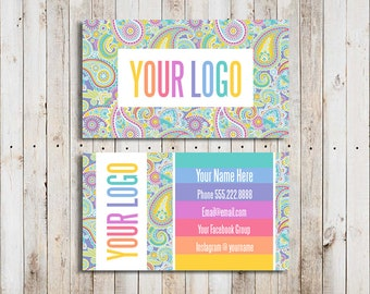 Custom Business Cards Personalized Home Office Approved Font and Colors LuLa Business Cards Paisley Digital Business Cards LLR Teams